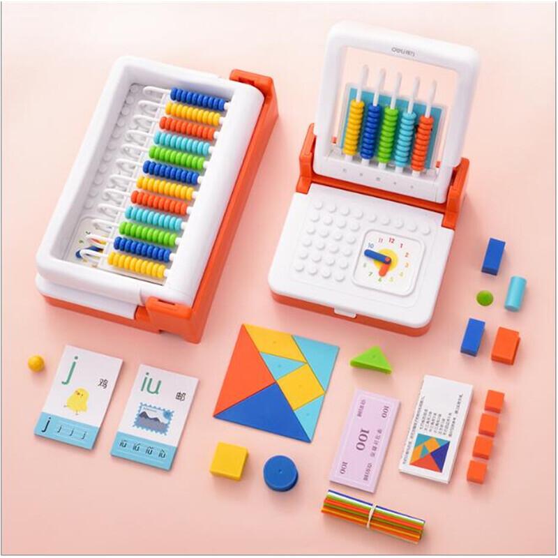 得力儿童计算架珠算盘学具盒幼儿学生数学算术计数器益智早教玩具 2合1学具盒 内含积木 七巧板 计数币等