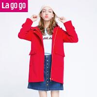 【618大促-每满100减50】Lagogo冬新款红色女装纯色连帽毛呢大衣中长款外套