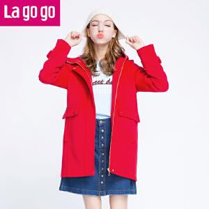 Lagogo冬新款红色女装纯色连帽毛呢大衣中长款外套