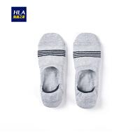 HLA/海澜之家2019春季新品一双装舒适透气棉袜条纹休闲男士船袜