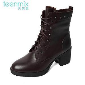 Teenmix/天美意专柜同款牛皮革女皮靴6VF61DZ5 专柜1