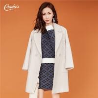 中长款大衣女2018冬季新款纯色方领韩版显瘦百搭加厚呢子外套女士