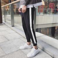 2018春季新款修身黑白拼色休闲原宿风潮流竖条韩版男裤子运动裤