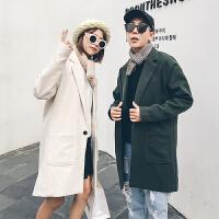 新款2018秋冬装男女情侣装毛呢大衣中长款风衣宽松纯色休闲外套潮