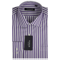 YOUNGOR雅戈尔全棉白紫粗条商务正装长袖衬衫PM14758-33
