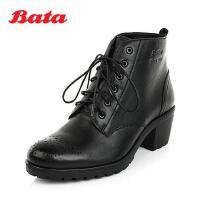 Bata/拔佳冬 黑色油蜡牛皮女中跟短靴(气垫)/内里加绒AXN50DD4 经典款