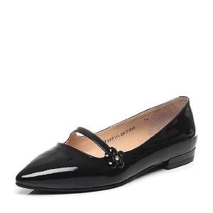 Tata/他她专柜同款漆牛皮水钻花朵尖头女玛丽珍鞋FF104AQ7