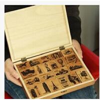 韩国bentoy 复古风环游世界风景印章 A LIFE 木盒装21枚入