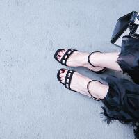 彼艾2018新款粗跟凉鞋女夏季百搭真皮高跟鞋中跟一字扣带小码凉鞋露趾女凉鞋子