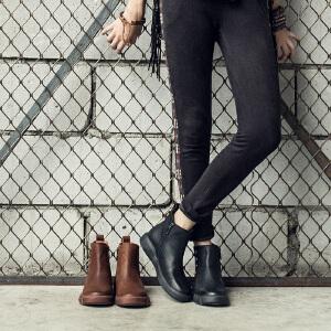 玛菲玛图chic马丁靴女冬季2019新款圆头中跟平底单靴朋克风侧拉链牛皮短靴5309-20W