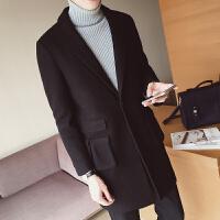 新款秋冬装男时尚外套中长款毛呢风衣多口袋韩版时尚休闲妮子大衣