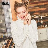 白色高领毛衣女2017春季新款韩版长袖宽松潮前短后长套头针织衫