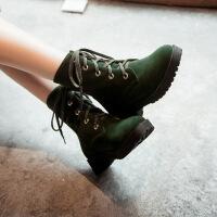 彼艾2017秋冬新款马丁靴女短靴机车靴英伦风单靴新款方跟女靴磨砂皮潮靴子