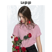 lagogo 2019秋季新款女装条纹衬衫短袖女宽松休闲上衣夏前短后长HCCC226C28