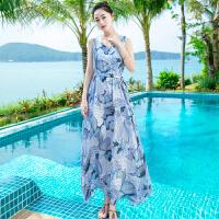 夏季新品女装修身无袖系带雪纺连衣裙长裙波西米亚海边沙滩裙 图片色XZB650