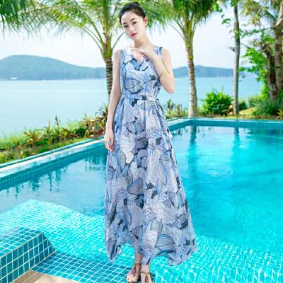 夏季新品女装修身无袖系带雪纺连衣裙长裙波西米亚海边沙滩裙 图片色XZB650 发货周期:一般在付款后2-90天左右发货,具体发货时间请以与客服协商的时间为准