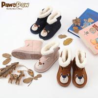 【秒杀价:115元】Pawinpaw卡通小熊童装儿童短靴中小童加绒保暖卡通靴子