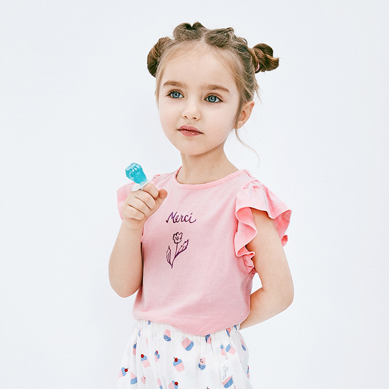 【每满299元减100元】迷你巴拉巴拉女童背心2019夏新款儿童宝宝荷叶边薄款甜美无袖T恤