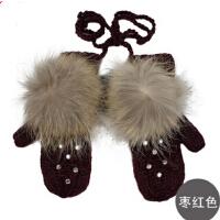 时尚女士冬季连指手套 超可爱女士貉子毛手工毛线手套