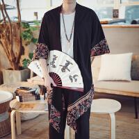 中国风亚麻衬衫男中式复古棉麻长袖上衣和服汉服唐装潮流休闲衬衣