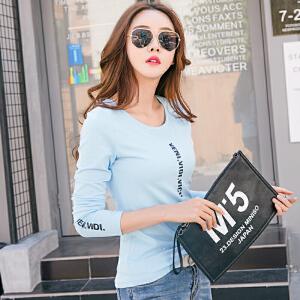 春装新款长袖T恤女韩版修身显瘦春季打底体恤衫棉质上衣服