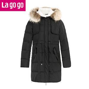 【每满200减100】Lagogo冬季新款连帽羽绒服中长款大毛领女黑色加厚显瘦外套time:4.17~4.23