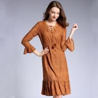 秋冬新款女装韩版修身V领交叉绑带荷叶摆蕾丝连衣裙长袖打底
