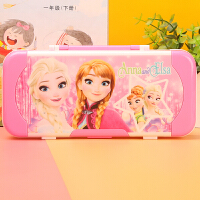 儿童文具盒女韩国创意可爱小学生用1-3年级幼儿园公主三层铅笔盒礼品 中粉红 冰雪奇缘