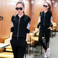 运动套装女士韩版时尚休闲运动服两件套新款春秋长袖棒球服晨跑卫衣套装潮