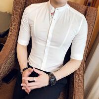 新品2018春夏立领衬衫男小码S码韩版修身中袖衬衣刺绣5帅气纯色