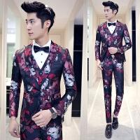 新品18春装新款男士韩版修身提花免烫西服套装潮流青年演出服三件
