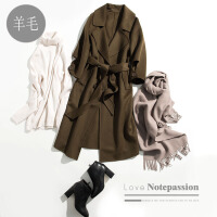 全羊毛中长款九分袖显瘦双面呢大衣外套女K0/0/92