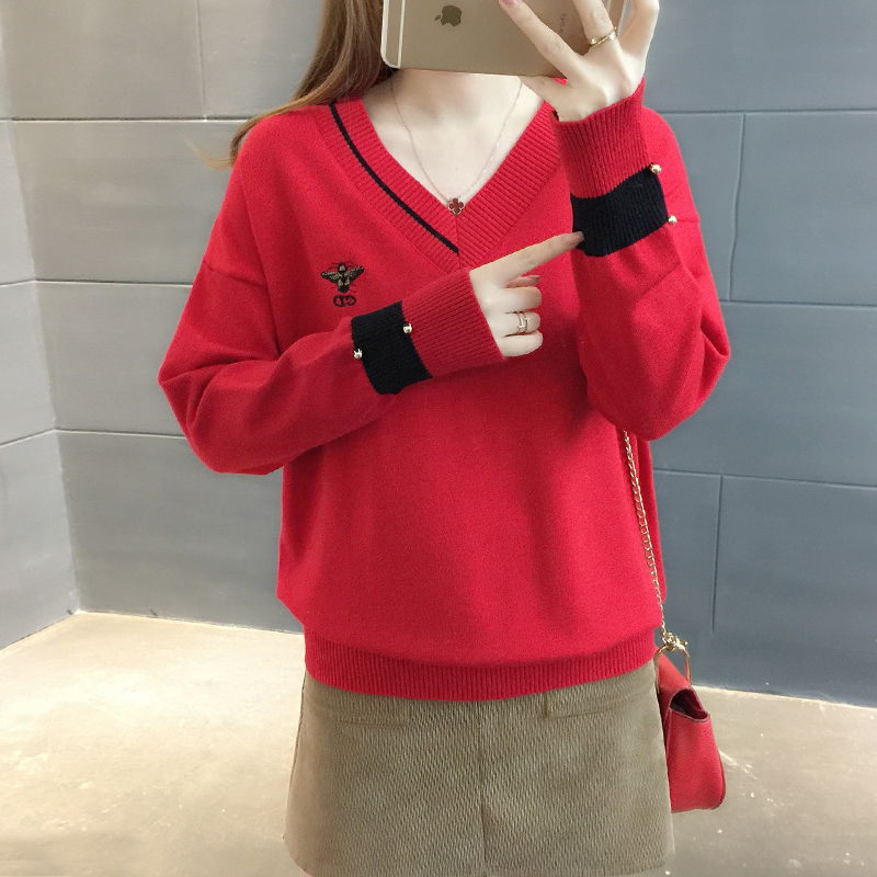加厚可爱毛衣女士V领套头韩版新款百搭宽松春装毛衣打底针织衫潮 发货周期:一般在付款后2-90天左右发货,具体发货时间请以与客服协商的时间为准