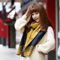 加厚 韩国秋冬季长款女生毛线围巾 可爱韩版双面圣诞雪花冬天保暖