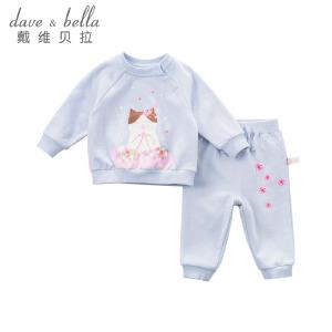 davebella戴维贝拉春装新款女童套装 宝宝卡通印花两件套DBJ7653
