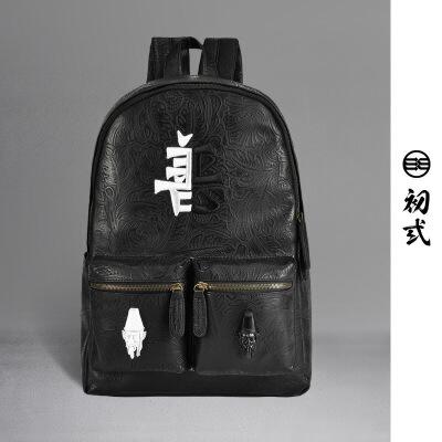 【支持礼品卡支付】初弎中国风潮牌善恶双肩包 黑白无常潮流电脑包男士休闲背包41242