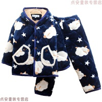冬季儿童睡衣女童珊瑚绒加厚加绒三层夹棉男童保暖男孩宝宝法兰绒