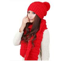 保暖套装套件二件套冬季红色帽子围巾两件套女士韩版潮
