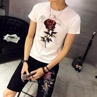 小号男装修身玫瑰花图短袖T恤短裤两件套S码S号时尚休闲套装16