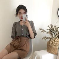 夏装韩国格子方领单排扣泡泡袖衬衫套装+高腰花苞短裤两件套女 黑格上衣 均码