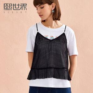 熙世界刺绣圆领短袖T恤女2018夏季新款显瘦网纱织带上衣112ST027