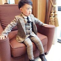 男宝儿童西装套装男三件套6小孩男童周岁礼服1-3岁宝宝小西服潮秋