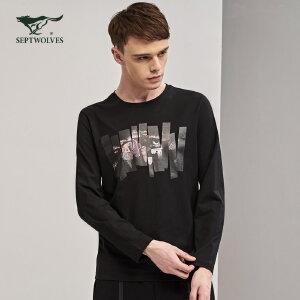 七匹狼长袖T恤  男士时尚休闲印花长袖T恤秋季套头圆领T恤修身