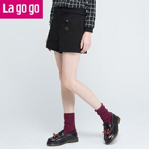 Lagogo/拉谷谷2016年冬季新款时尚百搭纽扣休闲短裤