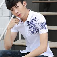夏季新款男士短袖�r衫�n版修身��性印花免�C潮流休�e百搭�r衣