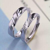 S925纯银情侣戒指一对男女对戒日韩饰品学生活口简约个性刻字礼物 一对价开口适合任何手指
