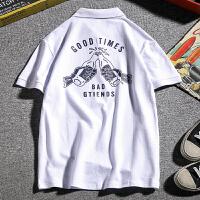 夏季有领短袖T恤男POLO衫潮流韩版帅气印花衬衫大码潮胖子上衣服