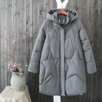 冬新五角星衍缝燕尾下摆棉衣纯色宽松夹棉加厚长袖中长连帽外套