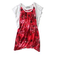 春季女装夏韩版花色撞色拼接短袖T恤女打底衫百搭上衣