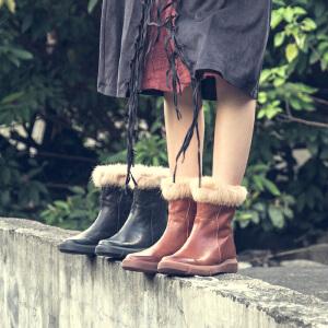 玛菲玛图冬季鞋子2018新款女短筒单靴圆头中跟平底马丁靴兔毛边后拉链短靴5309-1